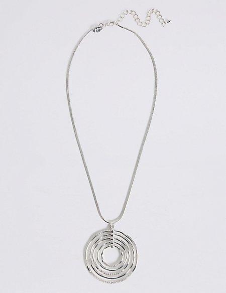 Silver Plated Gradient Circle Diamanté Necklace