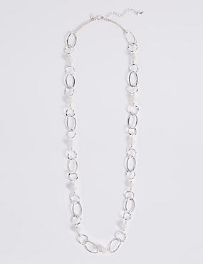 Spiral Bead Links Long Necklace