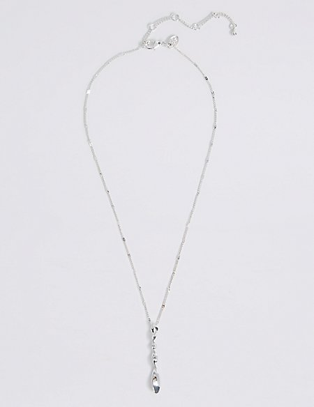 Silver Plated Twist Stick Necklace