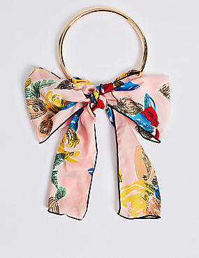 Floral Print Torque Scarf Necklace