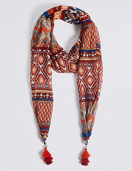Printed Tassel Scarf Necklace