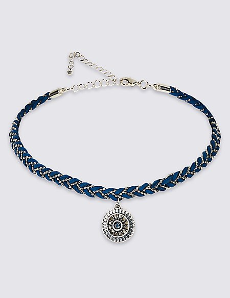 Plaited Charm Choker Necklace