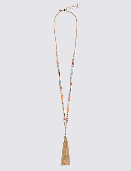 Beaded Tube Tassel Necklace