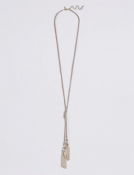 Silver Plated Toggle Tassel Necklace