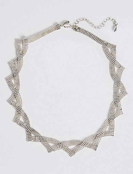 Silver Plated Ball Chain Collar Necklace