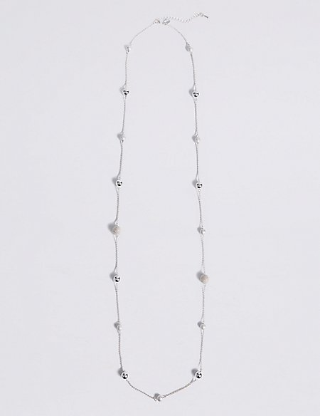 Silver Plated Assorted Station Beads Long Necklace