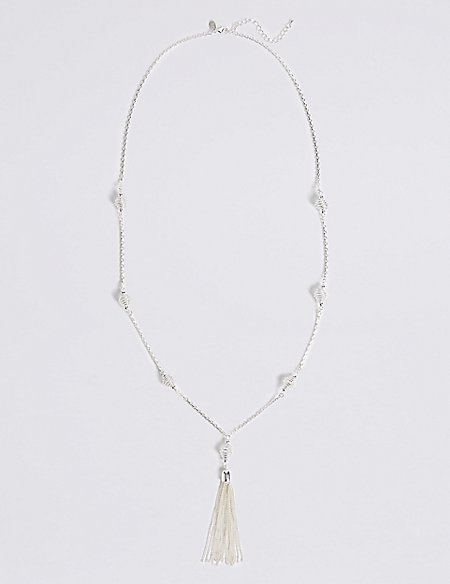 Silver Plated Tassel Chain Necklace