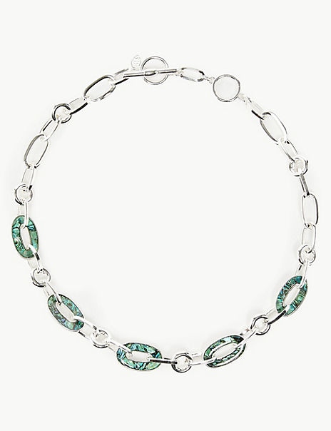 Silver Plated Shell Link Necklace