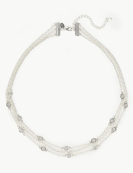 Silver Plated Glitter Multi Row Necklace
