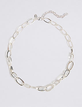 Silver Plated Trapped Chain Necklace