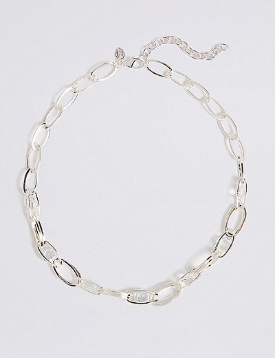 silver plated trapped chain necklace marks spencer london