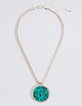 Silver Plated Circle Abalone Necklace