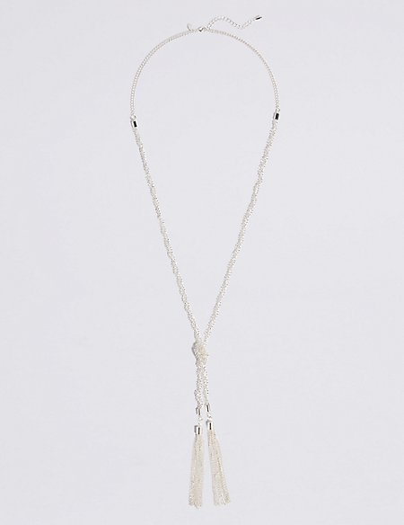 Silver Plated Ball Rope Necklace