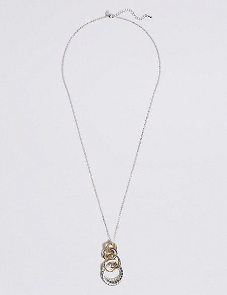 Silver Plated Mixed Metal Links Necklace