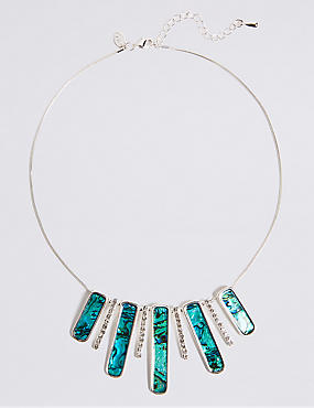 Silver Plated Abalone Shell Fan Necklace