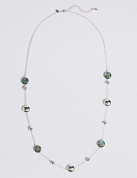Silver Plated Long Abalone Necklace