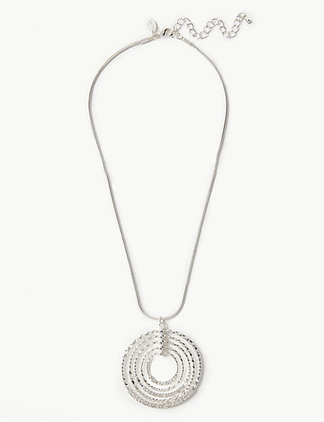 Silver Plated Multi Circle Pendant Necklace