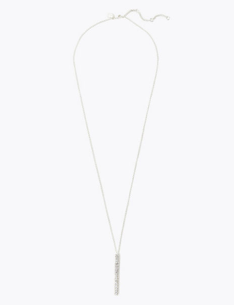 Silver Plated Crystal Stick Pendant Necklace