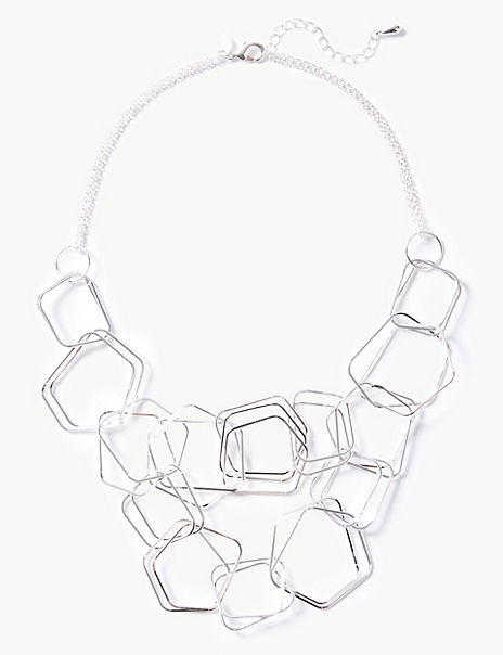 Silver Plated Hexagon Links Necklace
