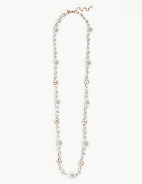 Pearl Effect Rope Necklace