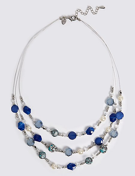 Twinkling Beads Three Row Necklace