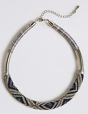 Seed Bead Woven Tube Necklace