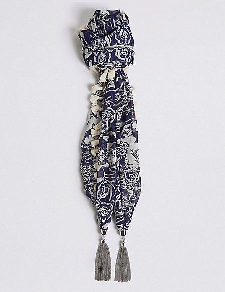 Tassel Charm Scarf Necklace