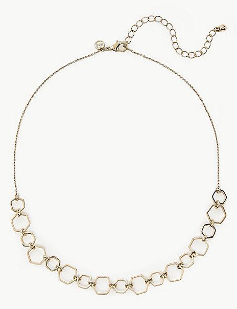 Mini Hexagon Collar Link Necklace
