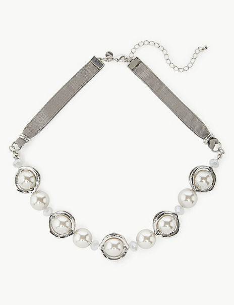 Pearly Bead Ribbon Collar Necklace
