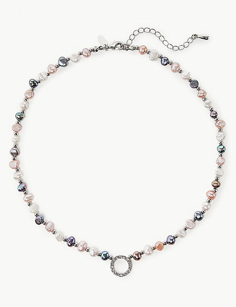 Pearl Effect Fresh Water Crystal Necklace