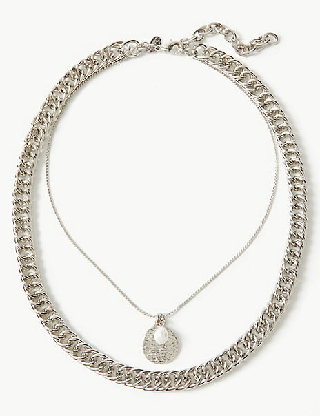Pearl Disc Chain Necklace