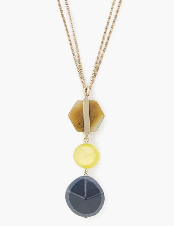 c361b223e41 Triple Stone Long Pendant Necklace