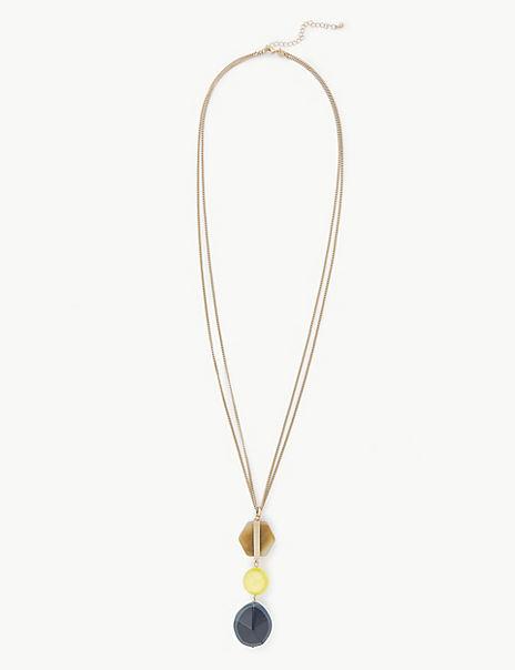 Triple Stone Long Pendant Necklace