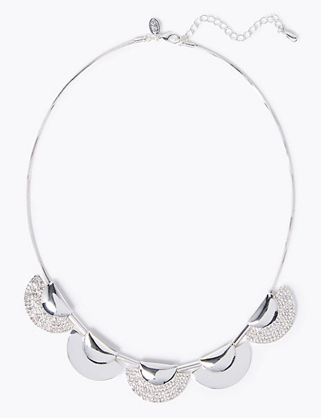 Silver Plated Oriental Shield Necklace