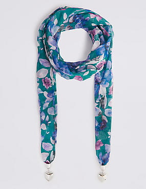 Printed Heart Pendant Jewellery scarf