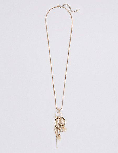 Oval Pearl Long Necklace
