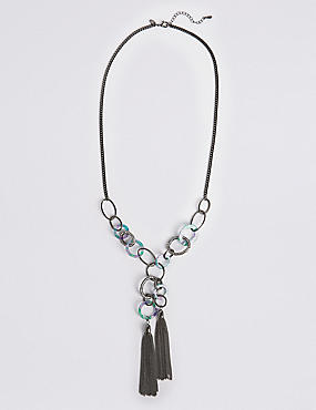 Mixed Link Tassel Necklace