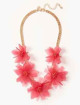 Glitter Flower Collar Necklace