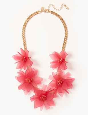 Glitter Flower Collar Necklace