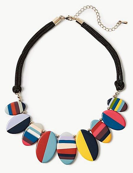 Stripy Oval Fan Necklace
