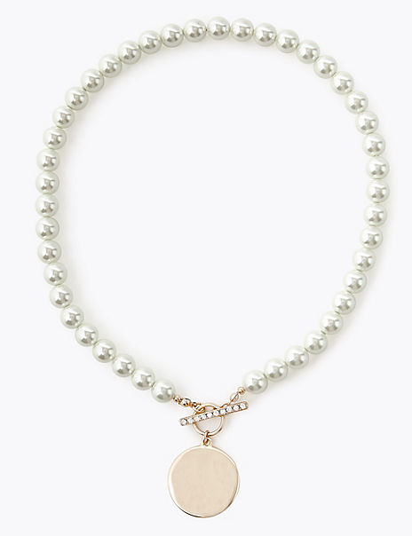 Pearl Effect Bead & Disc Necklace