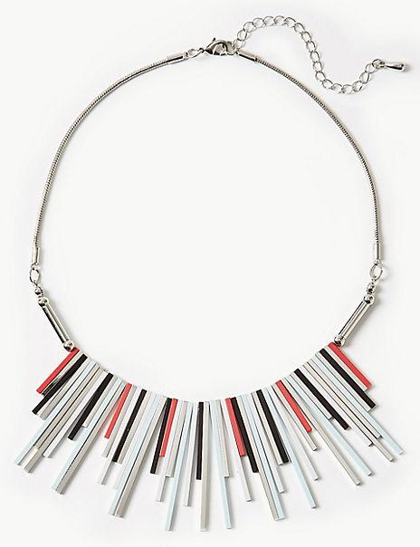 Metal Striped Fan Necklace