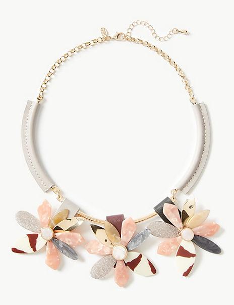 Triple Glitter Flowers Necklace