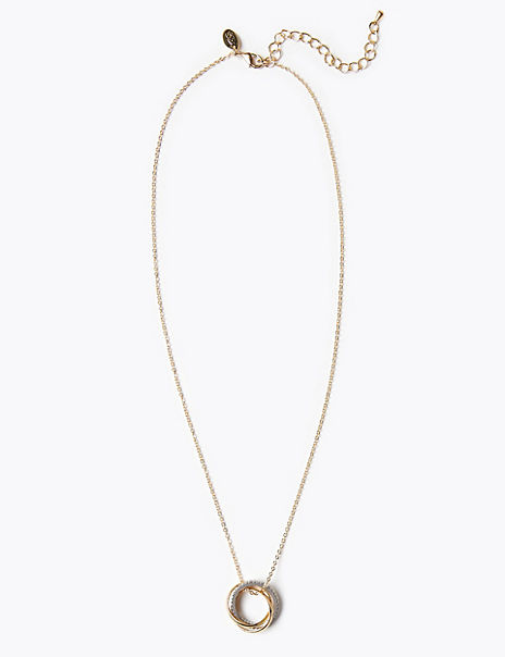 Gold Plated Triple Ring Pendant Necklace