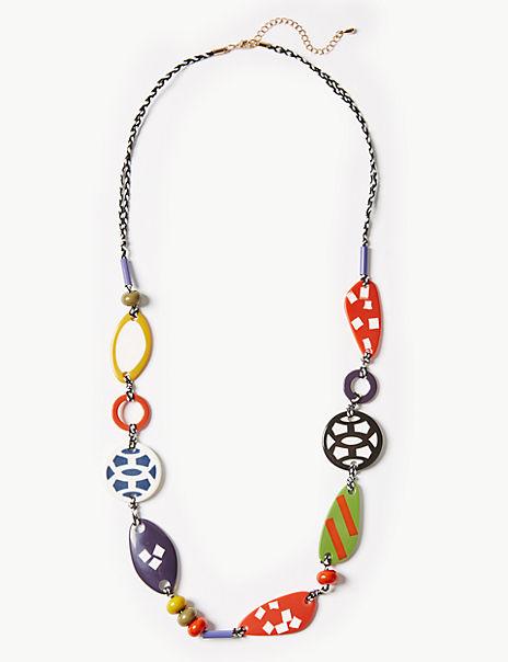 Multi Pattern Bead Long Necklace