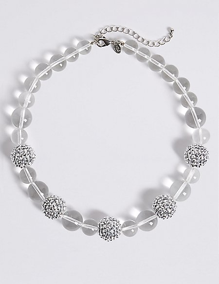 Clear Glitter Balls Necklace