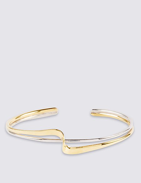 Sterling Silver Twist Bangle with 18ct Gold Plating