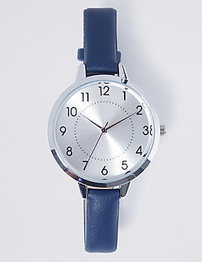 Round Face Case Strap Watch