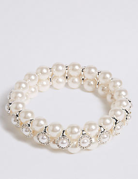Pearl Effect Crystal Circle Bracelet
