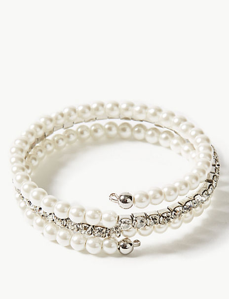 Pearl & Crystal Wrap Bracelet